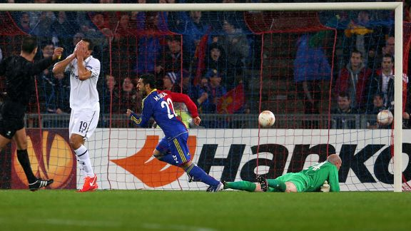 Mohamed Salah wheels away after scoring for Basel against Tottenham in the Europa League