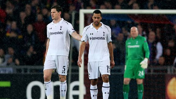 Dejected Spurs players after conceding to Basel in the Europa League