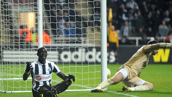 Papiss Cisse looks on in disbelief after having a goal ruled out for offside against Benfica