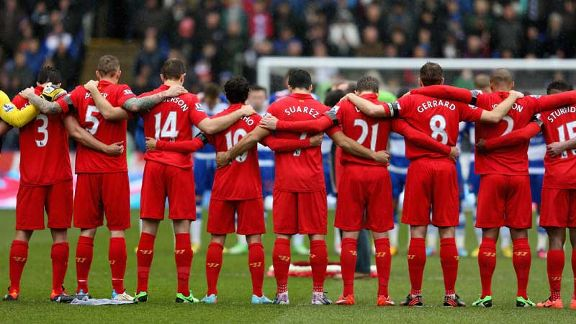 Liverpool observe a minute's silence prior to their match at Reading in memory of the Hillsborough disaster