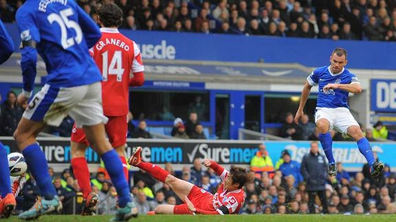 Darron Gibson fires Everton into the lead against QPR