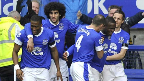 Victor Anichebe takes the plaudits after doubling Everton's lead