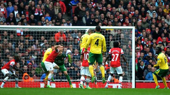 Michael Turner heads Norwich into the lead at Arsenal