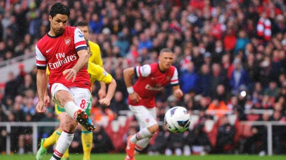 Mikel Arteta equalises from the penalty spot