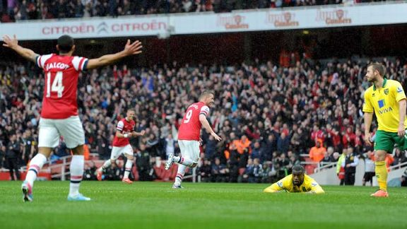 Lukas Podolski celebrates after netting late on against Norwich to complete the scoring