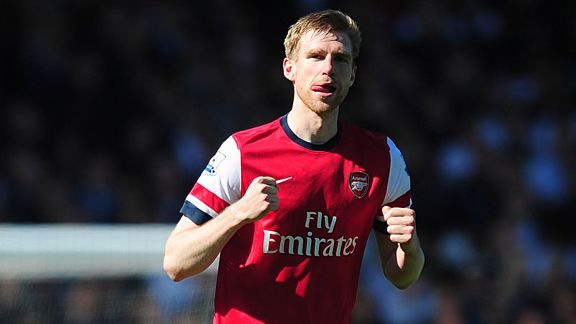 Per Mertesacker scored for Arsenal against Fulham