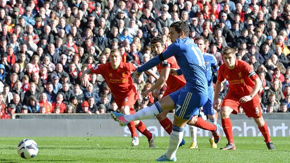 Eden Hazard scores a penalty for Chelsea against Liverpool