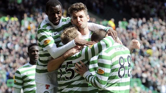 Celtic players celebrate a goal during the 4-1 win against Inverness