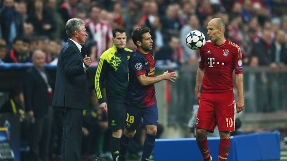 Arjen Robben and Jordi Alba exchange words