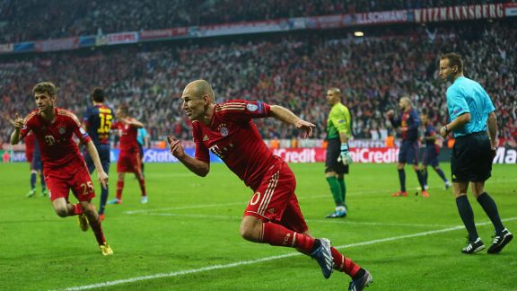 Arjen Robben celebrates a goal for Bayern Munich against Barcelona
