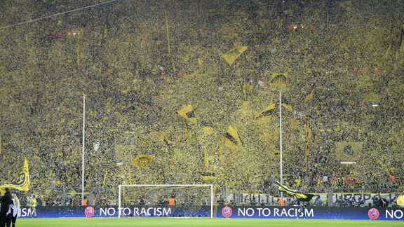 The Borussia Dortmund crowd make an intimidating atmosphere