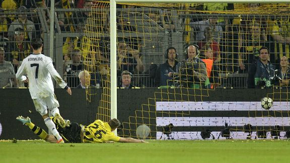 Cristiano Ronaldo scores for Real Madrid against Borussia Dortmund