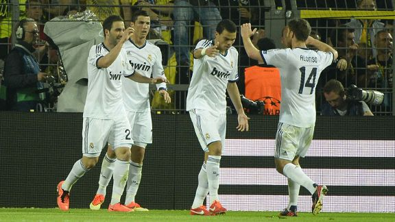 Real Madrid players celebrate their goal against Dortmund