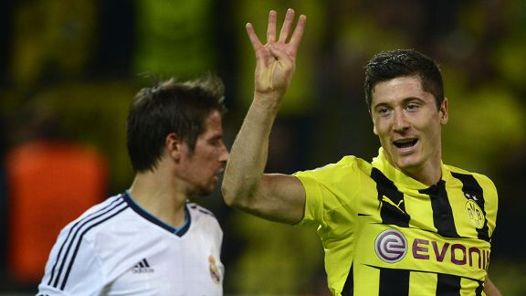 Robert Lewandowski scored four goals against Real Madrid
