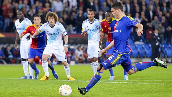 Fabian Schar scores from the spot to bring Basel level against Chelsea