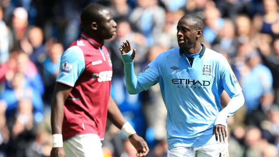 Yaya Toure celebrates after doubling City's lead