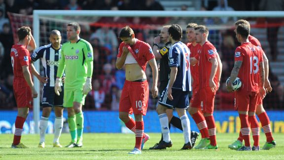 Gaston Ramirez leaves the field after being shown a red card in Southampton's defeat to West Brom