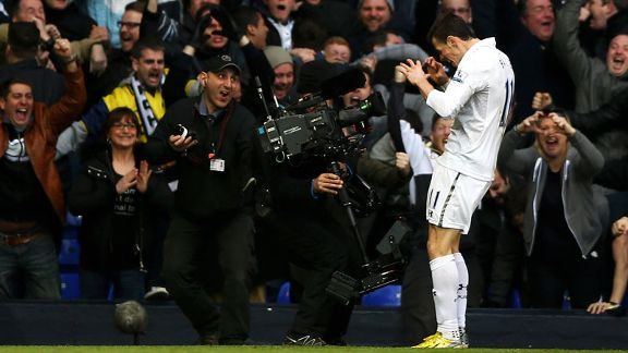 Gareth Bale celebrates after putting Tottenham into the lead in the North London derby