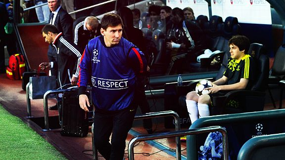 Lionel Messi takes his place on the bench after being left out against Bayern Munich