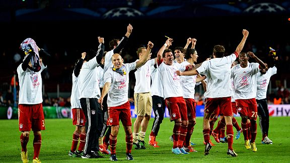 Bayern Munich celebrate after steamrollering Barcelona to book a place in the Champions League final against Borussia Dortmund
