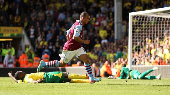Gabby Agbonlahor nets the winning goal for Aston Villa at Norwich