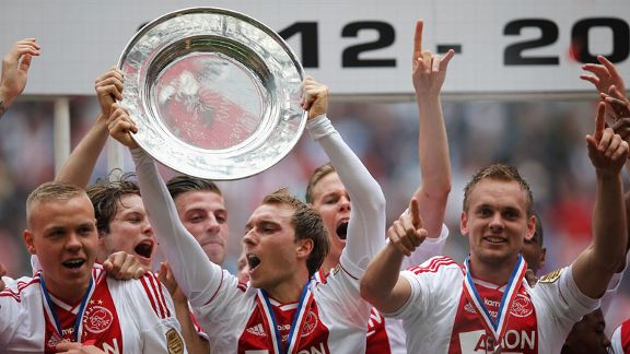 Christian Eriksen celebrates Ajax winning the Eredivisie title