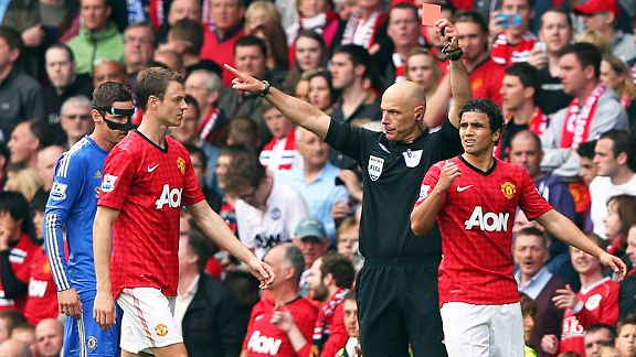 Rafael is sent off for hacking out at David Luiz