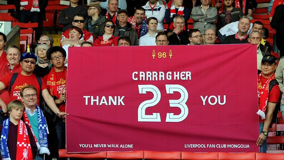 Liverpool fans show their gratitude to Jamie Carragher during his last Merseyside derby