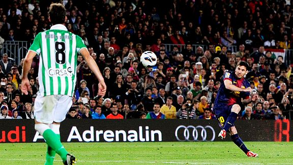 Lionel Messi fires home a free-kick moments after coming off the bench in Barcelona's win over Betis