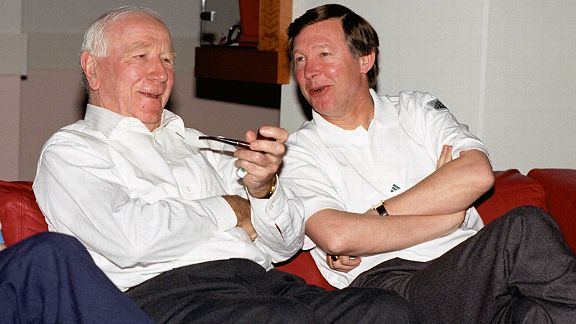 Alex Ferguson chats with another of Man United's legendary managers, Sir Matt Busby, ahead of the UEFA Cup Winners' Cup final in 1991