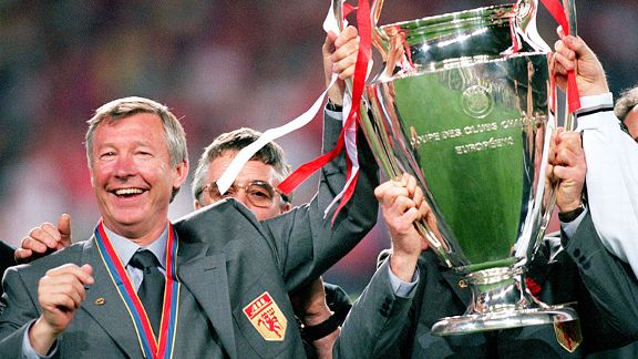 Sir Alex Ferguson after Manchester United's dramatic, late Champions League win over Bayern Munich in 1999