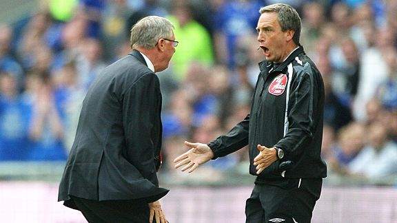 Sir Alex Ferguson was never afraid to make his views known to match officials, here arguing with Alan Wiley in 2009