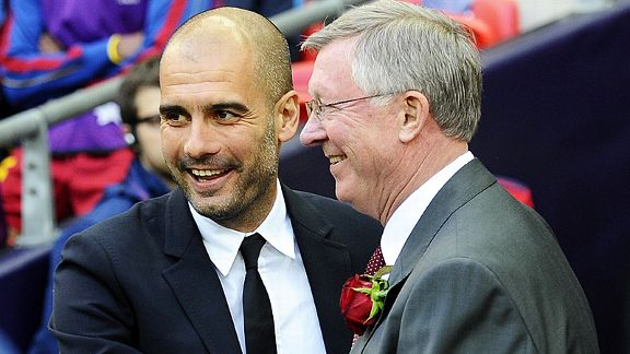 Pep Guardiola and Sir Alex Ferguson embrace before the 2011 Champions League final - but Guardiola's Barcelona lifted the trophy against United in both 2009 and 2011