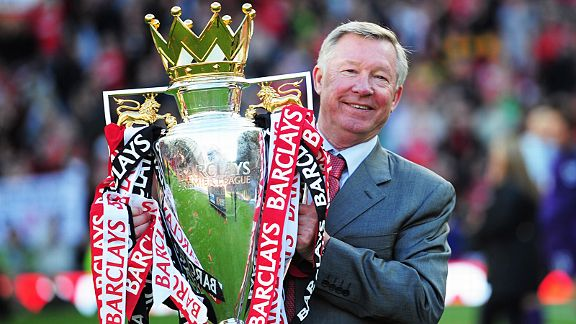 Sir Alex Ferguson celebrates winning a landmark 19th title in 2011, which saw United overtake Liverpool total of 18