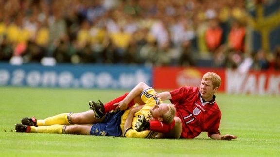 Scholes saw red for this tackle on Sweden's Stefan Schwarz
