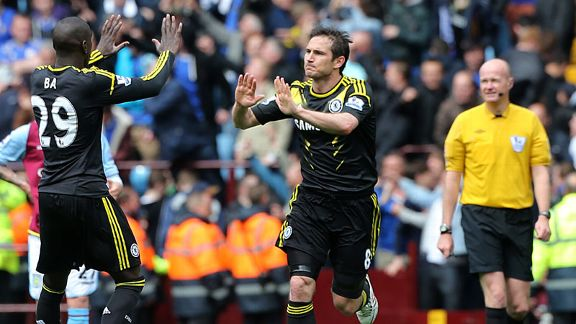 Frank Lampard celeb high five Demba Ba Chelsea