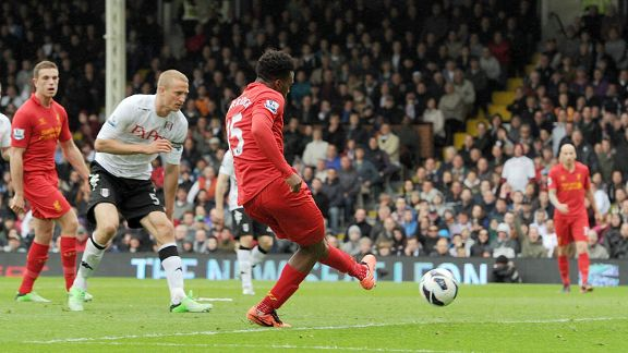 Daniel Sturridge scores for Liverpool against Fulham