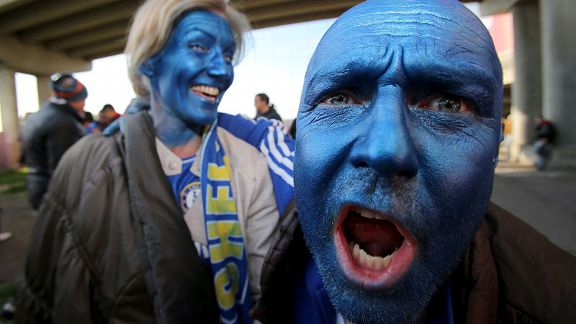 Chelsea fans show their colours ahead of the match