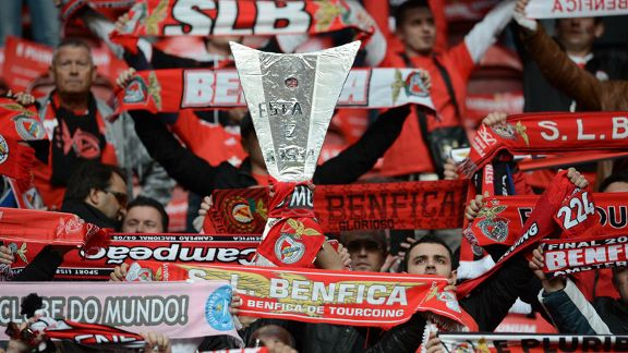 Benfica fans get into the spirit at the Amsterdam ArenA