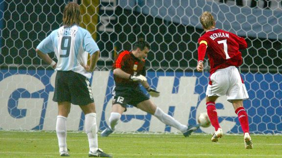 David Beckham converted a penalty to give England a 1-0 victory over Argentina in the 2002 World Cup group stage