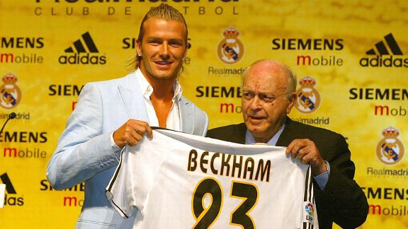 David Beckham, pictured with Alfredo Di Stefano, was sold to Real Madrid in the summer of 2003