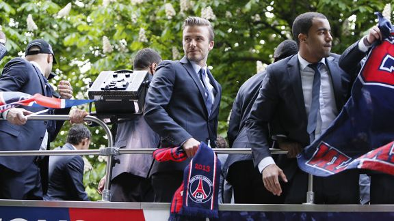 David Beckham ended his career with Ligue 1 title success at PSG