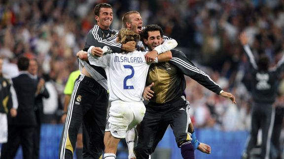 David Beckham celebrates with his Real Madrid team-mates after claiming La Liga title success in 2007.