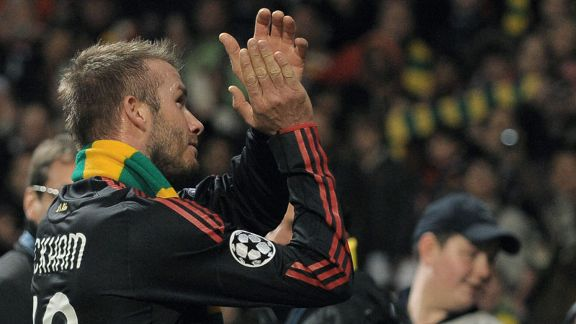 David Beckham made an emotional to Old Trafford with AC Milan in 2010