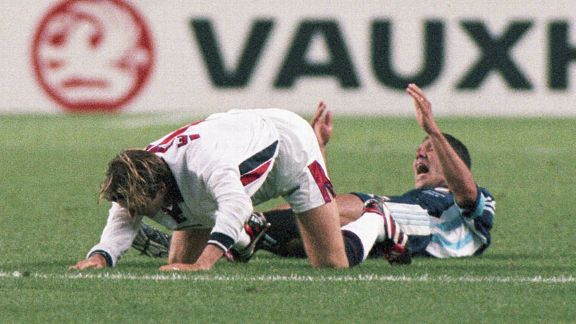 David Beckham kicked out at Argentina's Diego Simeone at the 1998 World Cup. Beckham was sent off and became a hate figure in England