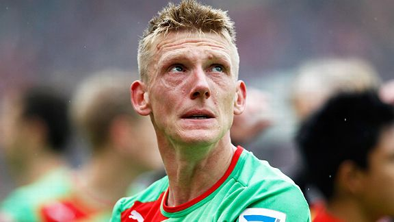 Axel Bellinghausen tries to fight away the tears after Fortuna Dusseldorf were relegated from the Bundesliga on the final day