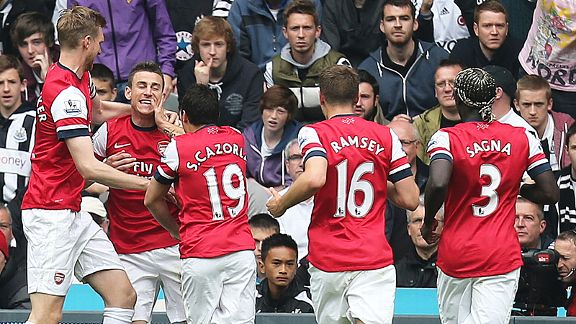 Joy and relief for Arsenal after Laurent Koscielny gave them the lead at Newcastle