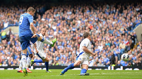 Fernando Torres fires home his winner for Chelsea against Everton which guaranteed third place in the Premier League
