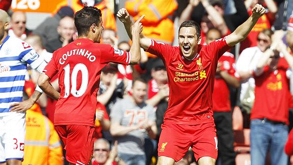 Stewart Downing joins goalscorer Philippe Coutinho after Liverpool took the lead against QPR