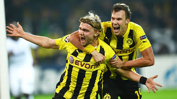 Marcel Schmelzer celebrates after scoring the goal which gave Dortmund a huge win over Real Madrid in the group stage